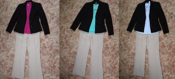 tan pants + blazer outfits