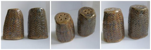 Handbuilt salt and pepper shakers