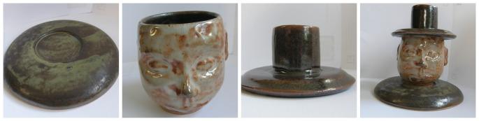 Bowl, figure mug, cover: Functional figure sculpture