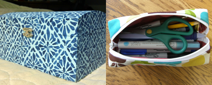 Hand-painted Wooden Box and Sewn Pencil Case