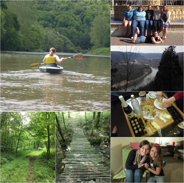Clockwise from top left: kayaking, visit to college friends, hiking at Tanglewood, cheese party, girls weekend in Rochester, hiking at home, hiking at Bearspring State Park
