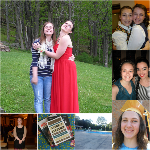 """Clockwise from top left: my sister's prom, my sister in """"The Sound of Music"""", Holiday Banquet with my roommate, my sister at graduation, the pool I worked at this summer, getting outside of my comfort zone, and the award ceremony"""