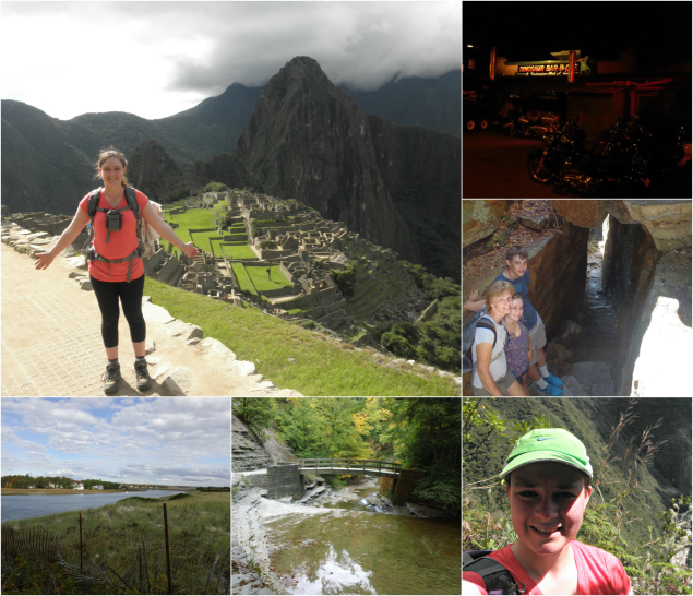 Clockwise from top left: me at Machu Picchu, Dinosaur BBQ in Rochester, Ice Caves, Peru (Inca Trail), Stony Brook State Park, Maine