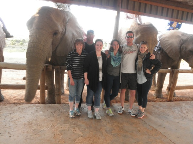 Our whole group with the elephants at Kwantu Elephant Sanctuary