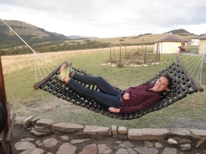 """My sister relaxing on the """"porch"""" of Elundini Backpackers"""