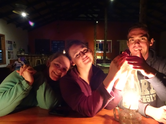 Me, my sister, and her friend, hanging out at Elundini Backpackers