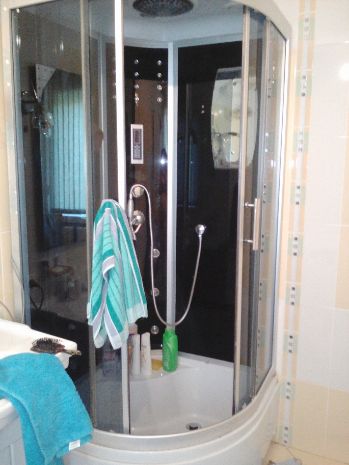 The fancy shower in my bathroom- seriously, it's so fancy I had a lot of trouble figuring out how it works!