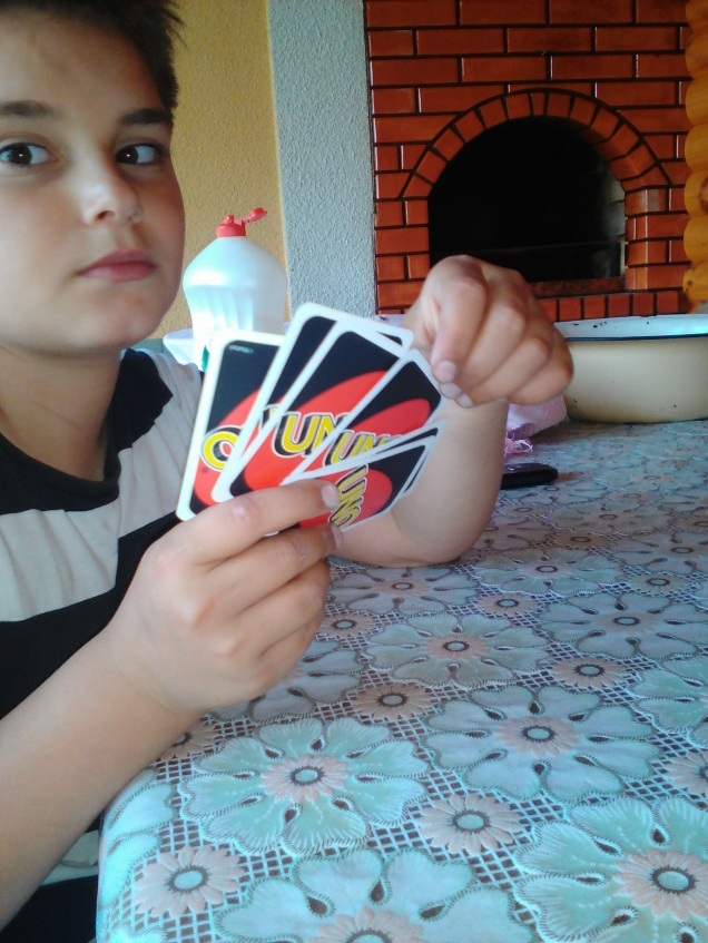 Playing Uno with my host brother