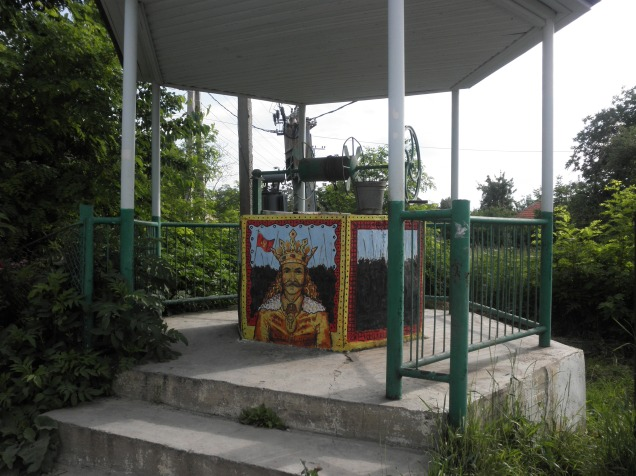 One of the wells in Costesti- the painting is of Stefan cel Mare, a Moldovan king in the 1400s