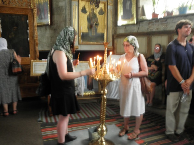 Lighting of candles at Sfantul Nicolae Monastry