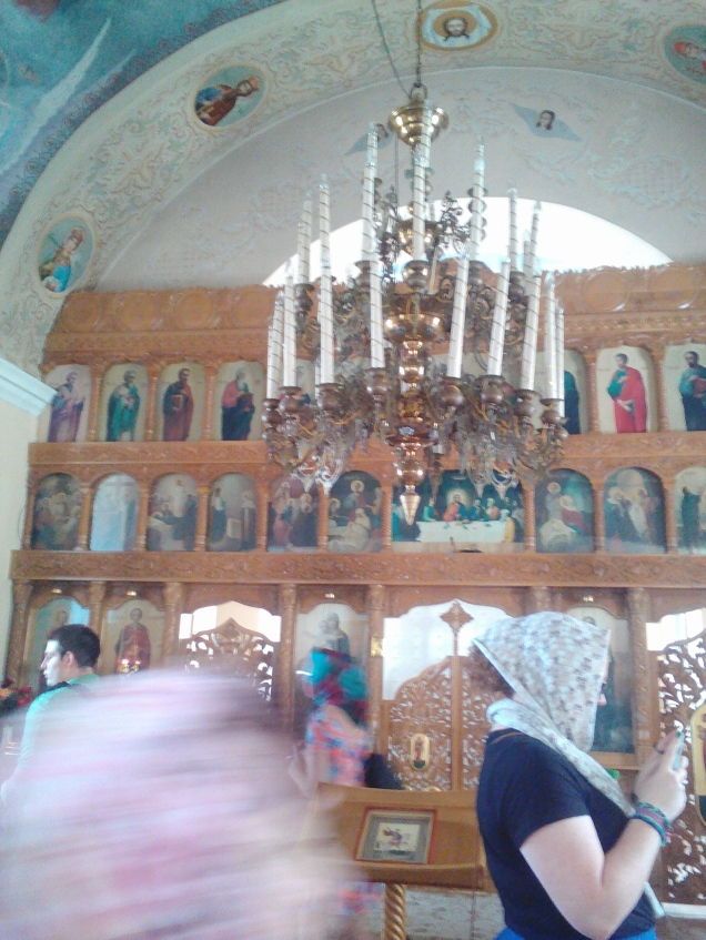 Inside the church at Sfantul Gheorghe Monastry