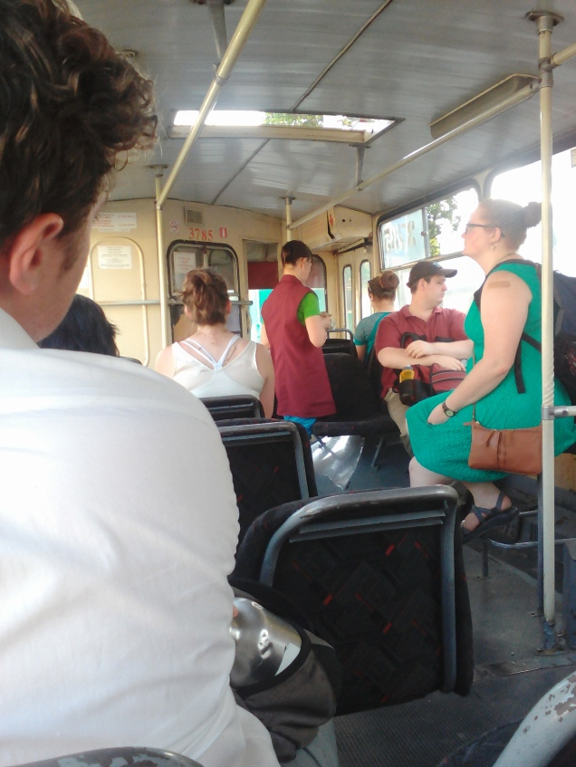 Riding on a trolley in Chisinau