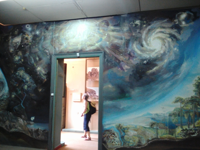 Wall #1 of the mural room at the National Museum of Ethnography and Natural Science (showing the big bang and the creation of the earth)
