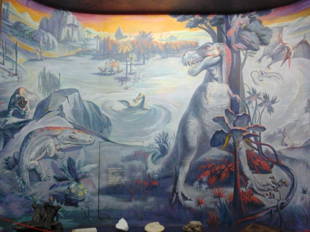 A mural in the dinosaur exhibition room at the National Museum of Ethnography and Natural Science