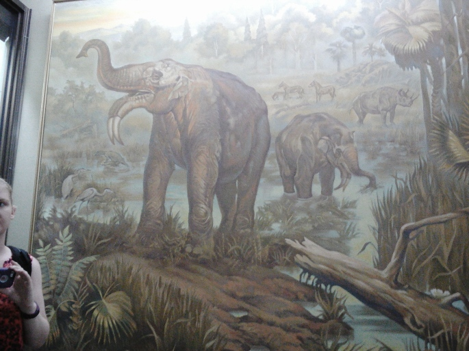 Painted image of the Deinotherium at the National Museum of Ethnography and Natural Science