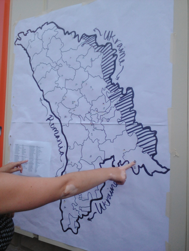 A friend helped me out by pointing to my site- the part that is marked with diagonal lines is Transnistria.