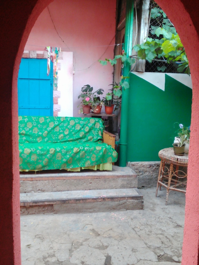 Colorful outdoor area at my host family's house in Festelita