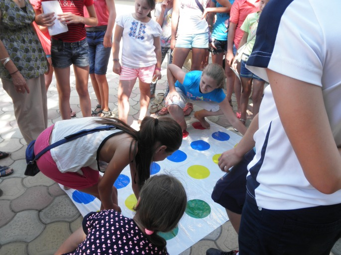 Playing twister!