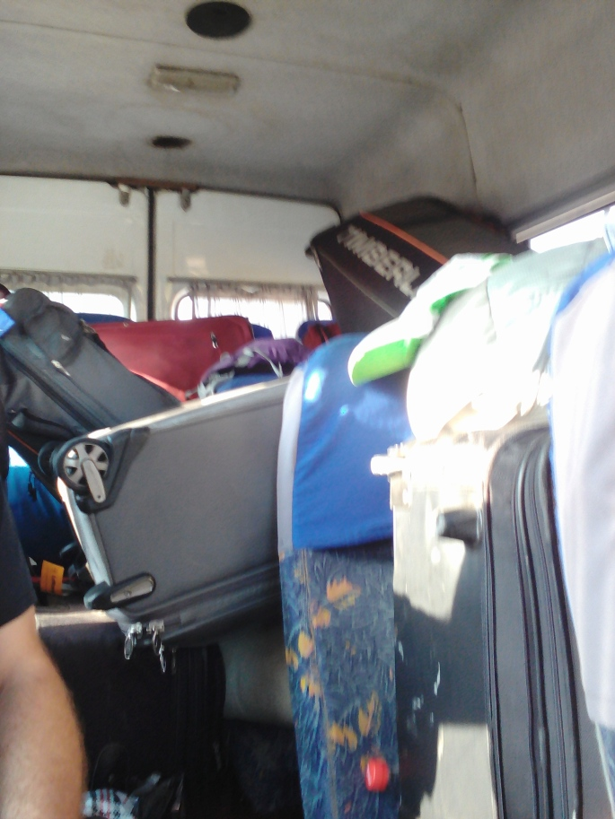 This is all of the bags loaded into the rutiera- with just enough room left for us to sit!