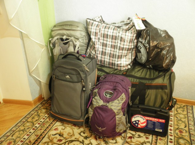 All of my bags, packed and ready to go.