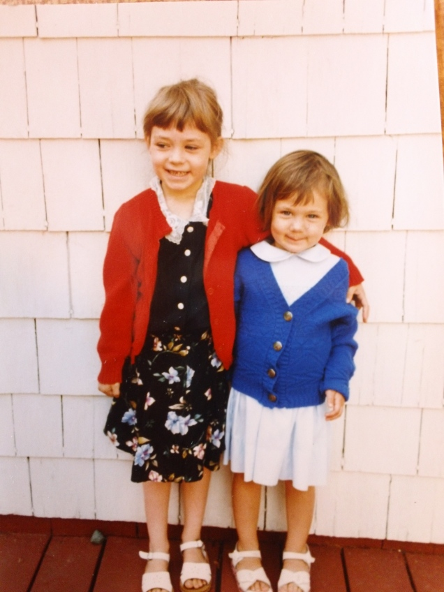 My sister and I my first day of 1st grade!