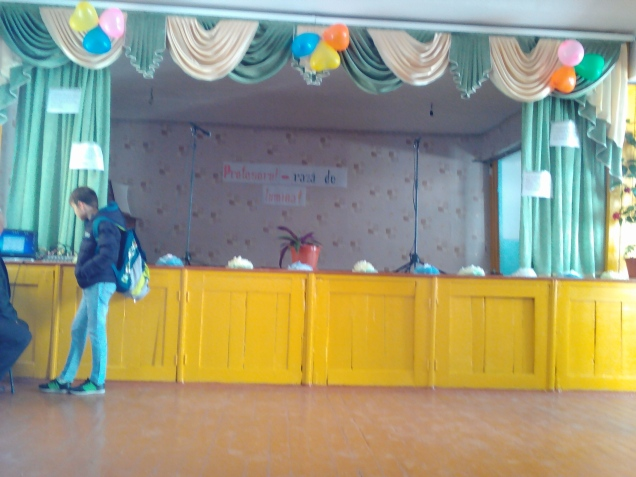 The stage all ready for celebrations to begin at my school!