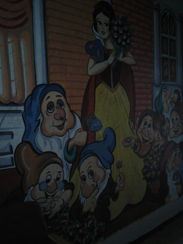 A mural of Snow White at the art school