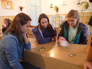 Playing dreidel after learning about Hanukkah