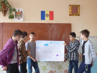 Presenting their finished poster on Alaska