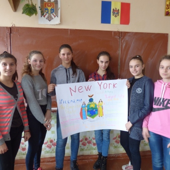 Presenting their finished poster on New York